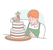 A man is putting decorations on the cake. hand drawn style vector design illustrations.
