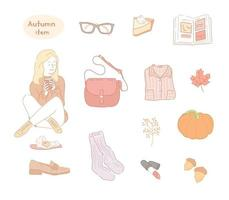 A girl drinking a hot drink and a collection of autumn items. hand drawn style vector design illustrations.