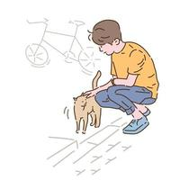 A boy is petting a cat he met on the street. hand drawn style vector design illustrations.