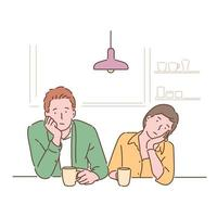 A couple sits at the table and shrugs their chins with a bored expression. hand drawn style vector design illustrations.
