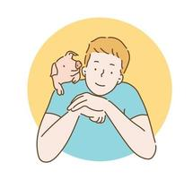 A man is smiling and there is a cute little piggy on his shoulder. hand drawn style vector design illustrations.