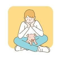 A boy is sitting on the floor and a baby pig is on his leg. hand drawn style vector design illustrations.