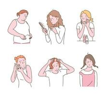 Women suffering from appearance problems. hand drawn style vector design illustrations.