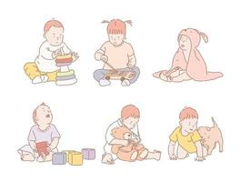 Babies playing with toys. hand drawn style vector design illustrations.
