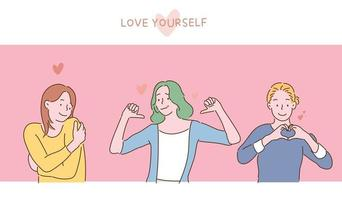 Women with confident expressions. You are making a gesture of loving yourself. hand drawn style vector design illustrations.