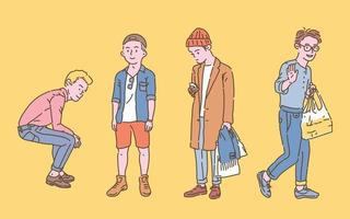 Street boys fashion style collection. hand drawn style vector design illustrations.
