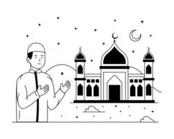 lugar de culto de la mezquita vector