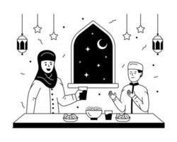 comida y adoración iftar vector
