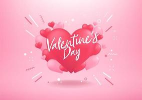 Happy valentines day with heart balloon shape. vector