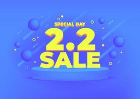 2.2 Shopping day sale banner background. 2.2 Crazy sales online. vector