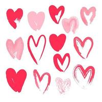 Set of hearts painted with brushes. Hand drawn calligraphy heart isolated on white background. vector