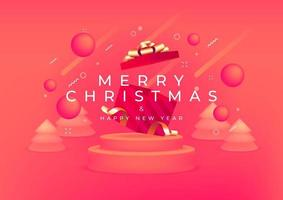 Merry Christmas and Happy New Year with red gift box and gold ribbon banner. 3D depth and realistic festive objects. vector
