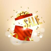 Golden sale inside open red gift box. Sale and promotion banner concept. vector