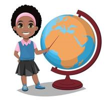 Back to school. Cute Afro-American girl points to the globe with a pointer. Pretty little schoolgirl. vector