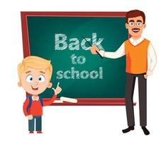 Teacher man cartoon character and cute schoolboy vector