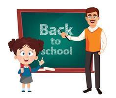 Teacher man cartoon character and cute schoolgirl vector