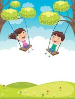 Happy Little Children Swinging At Tree vector