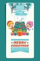 Christmas Greeting Card Design With Cartoon Characters vector