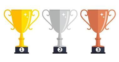 campeón de la copa de trofeo de oro, plata y bronce icono de premio signo de primer, segundo y tercer lugar. ilustración vectorial vector