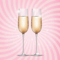 Glass of Champagne on Pink Background. Vector Illustration.