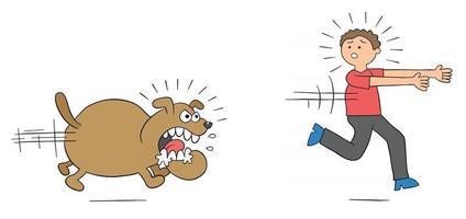 Cartoon Angry Dog Chases Man and Man Runs Away Vector Illustration