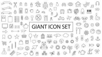 giant black outline planner vector icon set
