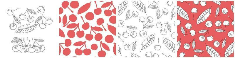 Set of outline and silhouette vector seamless patterns of cherries. Doodle cartoon isolated hand drawn illustration of berries in white, black and red colors