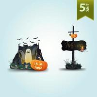 Halloween icons isolated on white for your arts. Ghost and pumpkins vector