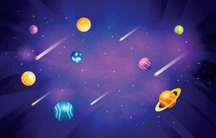 Space Planet with Meteor Background vector