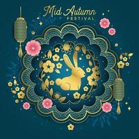 Mid Autumn Festival with Golden Rabbit vector