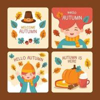 Welcome Autumn Card Series vector