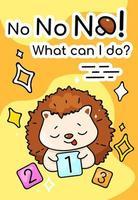 Cute confused hedgehog cartoon poster vector template
