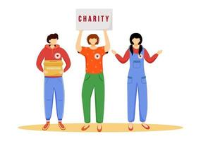 Volunteers collecting donations flat vector illustration. Slefless social activists isolated cartoon characters on white background. Public fundraising campaign. Charity, philanthropy concept