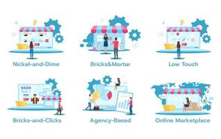 Business model flat vector illustrations set. Nickel-and-dime. Brick and mortar. Low touch. Bricks-and-clicks. Agency-based. Online marketplace. Marketing strategies. Isolated cartoon characters