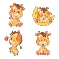 Cute giraffe kawaii cartoon vector characters set. Adorable and funny animal winking, sleeping and playing isolated stickers, patches collection. Anime happy baby giraffe emoji on white background