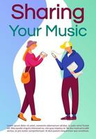 Share your music brochure template. Teens using gadgets. Flyer, booklet, leaflet concept with flat illustrations. Vector page cartoon layout for magazine. advertising invitation with text space
