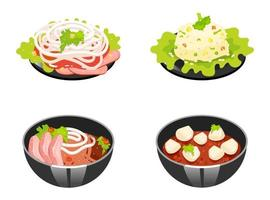 Chinese dishes color icons set. Tomato and woton noodles soup. Rice with vegetables. Eastern traditional cuisine. Meat chops with sauce and onion slices. Isolated vector illustrations