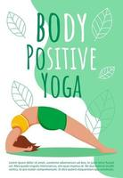 Bodypositive yoga brochure template. Sport exercises. Active and healthy lifestyle flyer, booklet, leaflet concept with flat illustrations. Vector page cartoon layout for magazine with text space