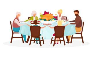 Thanksgiving day flat vector illustration. Fall annual holiday celebration. Festive meal. Celebrating harvest together. Family dinner with turkey isolated cartoon character on white background