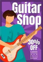 Guitar shop brochure template. Musical instrument store. Flyer, booklet, leaflet concept with flat illustration. Vector page cartoon layout for magazine. Advertising invitation with text space