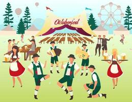 Oktoberfest flat vector illustration. Beer tent. Folk music and dances. Beer Festival. Visitors with cups of alcohol dancing, have fun. Waiters in national costumes. Volksfest cartoon characters