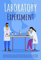 Laboratory experiment poster vector template. Conducting test. Women in lab coats. Brochure, cover, booklet page concept design with flat illustrations. Advertising flyer, leaflet, banner layout idea