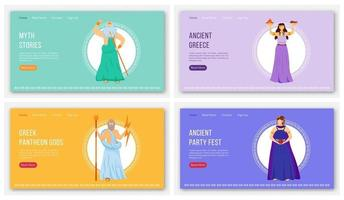 Ancient cultures landing page vector template set. Myths and legends. Ancient greek gods website interface idea with flat illustrations. Homepage layout, web banner, webpage cartoon concept