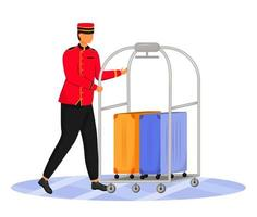 Bellman flat color vector illustration. Hotel clerk carrying baggage. Porter in uniform. Service staff with luggage cart and suitcases isolated cartoon character on white background