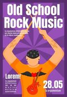 Old school rock music brochure template. Drummer. Concert, gig. Flyer, booklet, leaflet concept with flat illustration. Vector page cartoon layout for magazine. Advertising invitation with text space