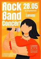 Rock band concert brochure template. Vocalist. Event, gig. Flyer, booklet, leaflet concept with flat illustration. Vector page cartoon layout for magazine. Advertising invitation with text space