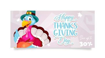 Happy Thanksgiving day flat poster vector template. Autumn holiday discount. Piligrims turkey with pumpkin isolated cartoon character. Banner, brochure, leaflet design layout with place for text