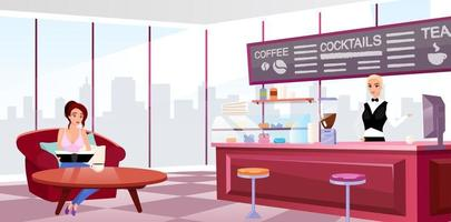 Megapolis coffeehouse interior flat vector illustration. Young girl in comfortable armchair drinking coffee. Barista at work cartoon character. Trendy panoramic windows in stylish cafe