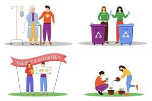 Trabajos voluntarios conjunto de ilustraciones vectoriales planas. jóvenes filántropos, activistas personajes de dibujos animados aislados. enfermería de ancianos, manejo de desechos, agitación de voluntarios públicos y plantación de árboles vector