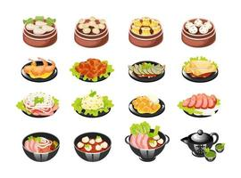 Chinese dishes color icons set. Dim sum types with meat and vegetables filling. Spring rolls and vegetable salad. Eastern traditional cuisine. Noodle spicy soup. Isolated vector illustrations